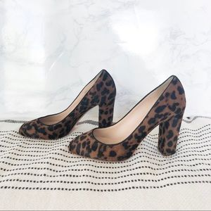J Crew Calf Hair Heels Cheetah Print